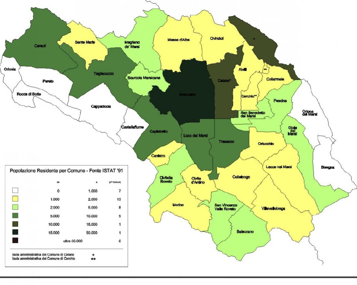 Mappa della popolazione residente nella Marsica